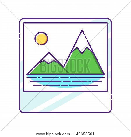 Trandy album icon with embedded picture inside, colorful vector flat illustration