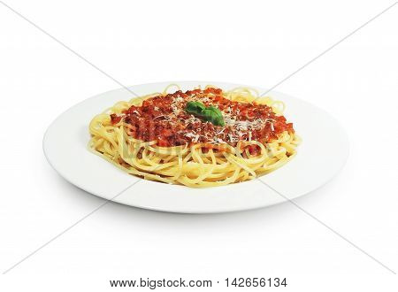 Spaghetti Bolognese, Pasta with tomato sauce on awhile plate, isolated on white background.