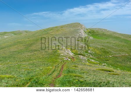 Ideal place for hiking - Chatyr-Dah mountainous massif in Crimea Ukraine. poster