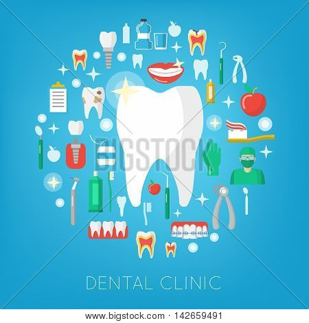 Dental Clinic and Care Icons with Tooth. Stomatology, Dentistry Services. Vector illustration