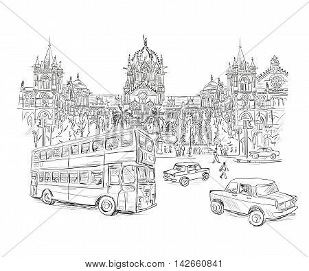 Chhatrapati Shivaji Terminus an historic railway station in Mumbai, Maharashtra, India. Vector illustration