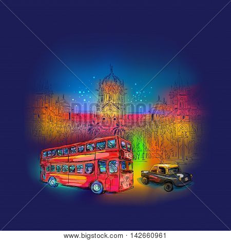 Chhatrapati Shivaji Terminus backlit illumination at nightand Ambassador taxi and red bus backlit illumination at night. An historic railway station in Mumbai, Maharashtra, India. Vector illustration