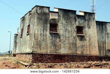 GITEGA, BURUNDI - JULY 10, 2016: Fort from German colonial era, today a prison, in the old capital of Burundi, Gitega.