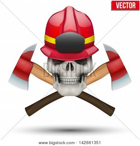Human skull with fireman helmet and axes. Firefighter in style of the Jolly Roger. The symbol of strength and power. Vector illustration Isolated on white background.