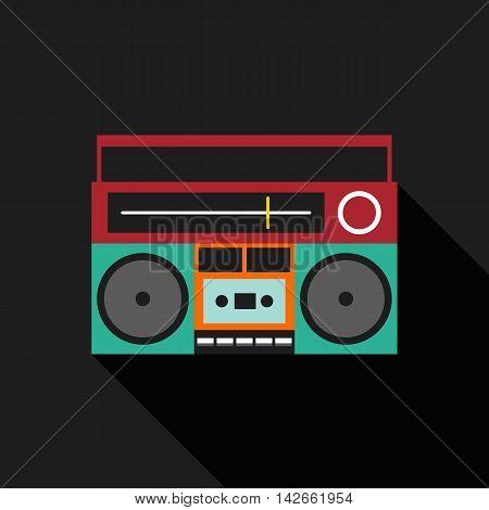 Retro vintage boombox radio flat design isolated icon vector illustration