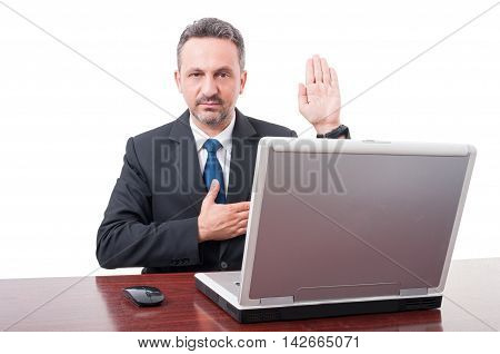 Confidend Businessman Swearing Or Promise Something
