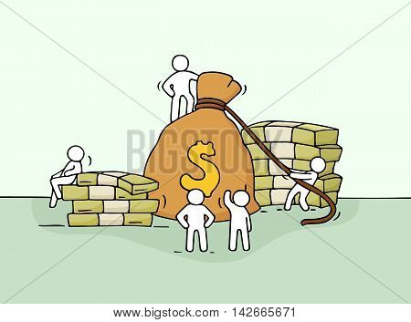 Sketch of money bag with working little people. Doodle cute miniature of stack of cash and big profit. Hand drawn cartoon vector illustration for business and finance design.