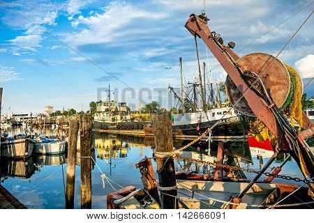 MIDDLETOWN NEW JERSEY- AUGUST 6 - Commercial fishing boats on Shoal Harbor on August 6 2016 in Middletown NJ. on Shoal Harbor on August 6 2016 in Middletown NJ.