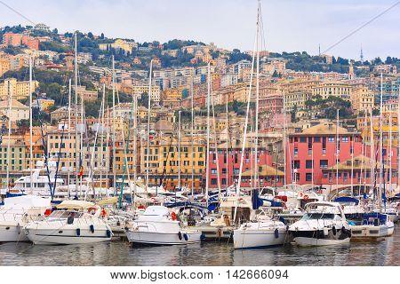 Marina Porto Antico Genova, where many sailboats and yachts are moored, Genoa, Italy.