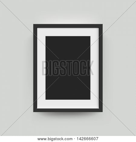 Black frame for vertical poster or photographs A3, A4 . Vector realisitc paper or plastic white picture-framing mat with wide borders shadow. Isolated picture frame mockup template on gray background