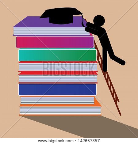 A student leaping high on the ladder to reach the graduation cap.