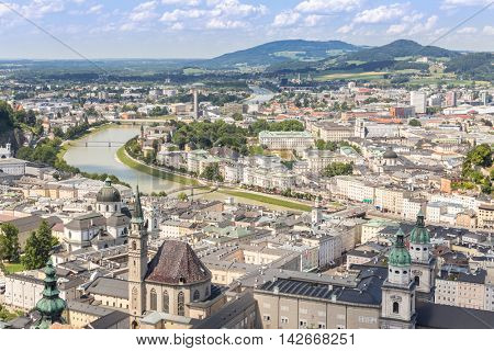 Austria Salzburg, Beautiful view of the historic city of Salzburger Land