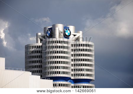 Munich Germany - June 07 2012: BMW building museum located near the Olympiapark in Munich and was established in 1972.