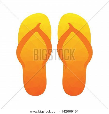Flip flops, Slippers with polygonal triangular pattern. Beach slippers summer symbol. Beach slippers for traveling design.