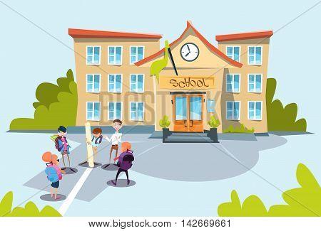 Schoolchildren Group School Building Exterior Flat Vector Illustration