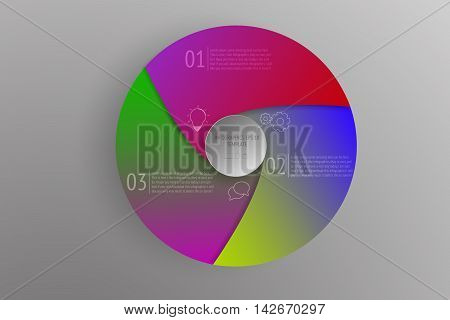 3 steps circular business infographics with colorful gradients. 3D circle and rounded infographic with outline icons on grey gradient background representing process three steps diagram or timeline.