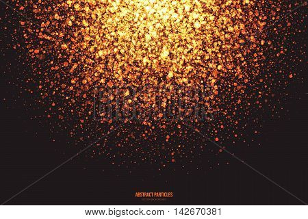 Abstract bright golden shimmer glowing round falling particles vector background. Scatter shine tinsel light explosion effect. Burning sparks. Celebration, holidays and party illustration