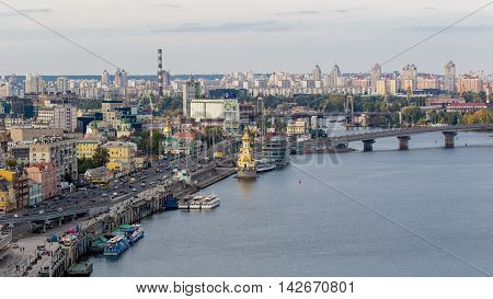 Kiev, Ukraine, Dnipro. View from the arch of Friendship of Peoples.