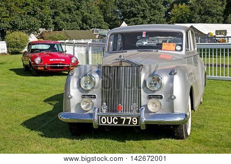 WESTERNHANGER, UK - JULY 17: A 1954 Rolls Royce Silver Dawn sits on static display at the War & Peace Revival show on July 17, 2013 in Westernahnger