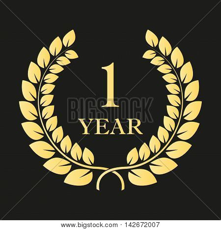 1 year anniversary laurel wreath icon or sign. Template for celebration and congratulation design. First anniversary golden label. Vector illustration.