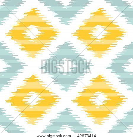 Seamless geometric pattern, based on ikat fabric style. Vector illustration. Yellow and teal diamond shapes on white background. Vector rug texture imitation.
