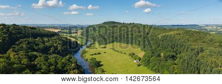 Beautiful English countryside in the Wye Valley and River Wye between the counties of Herefordshire and Gloucestershire England UK panoramic view