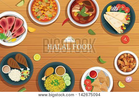 halal food on a wooden background.Vector halal food top view.