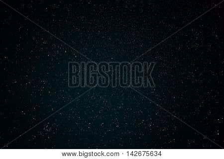 Starry Night Sky With Stars. Natural Background With Black Sky And Many Stars