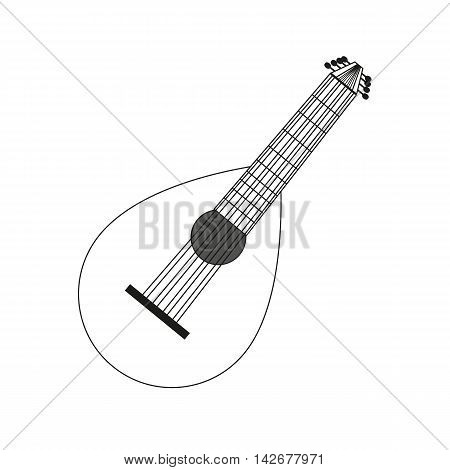 vector illustration circuit outline of a lute in black and white. Coloring musical instrument, logo symbol.