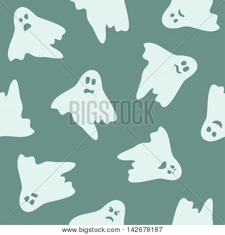 pale pattern with ghosts, vector seamless halloween pattern