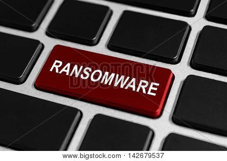 ransomware red button on keyboard business concept