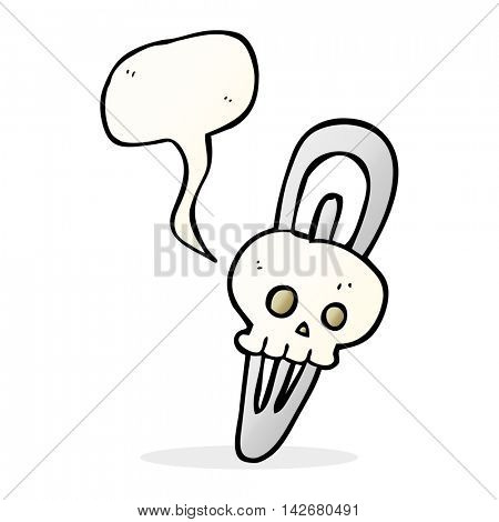 freehand drawn speech bubble cartoon skull hairclip