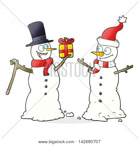 freehand drawn cartoon snowmen exchanging gifts
