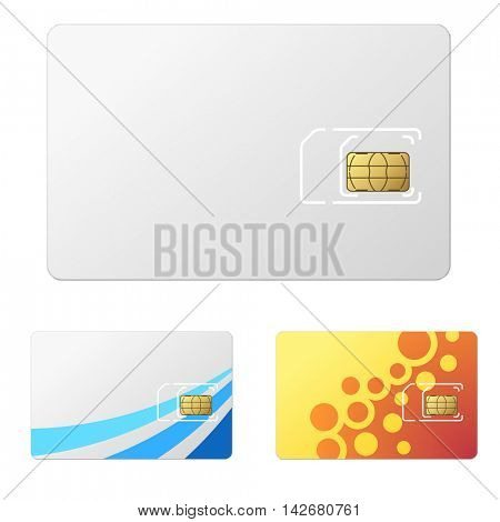 Blank white new SIM card vector template with 2 simple design examples.