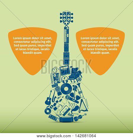 Musical instrument set in guitar form, vector illustration