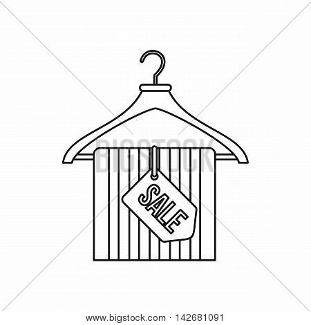 Hanger with sale tag icon in outline style isolated on white background. Sellout symbol vector illustration