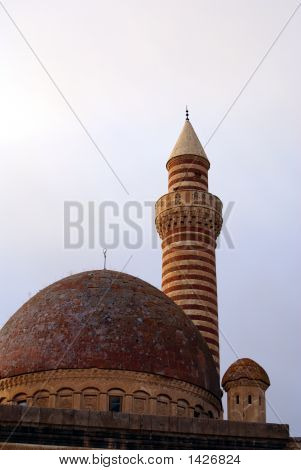 DSCDome minaret and tower on the roof of palace Ishak Pasha Saray in Dogubeyazit Turkey poster