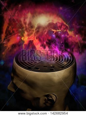 Man mind maze and galactic nebula 3D Rendered
