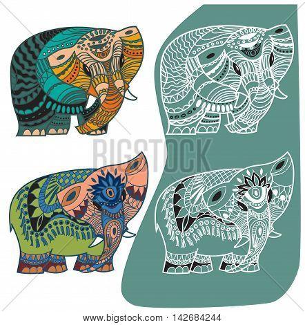 Vector indian elephants set. Stock mehndi set for design on white background.