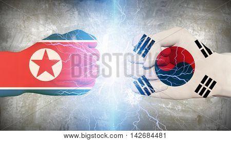 South Korea vs North Korea 3D Rendered