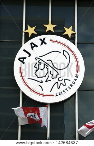 Amsterdam Netherlands-august 14 2016: Logo of ajax on the wall of the Amsterdam Arena