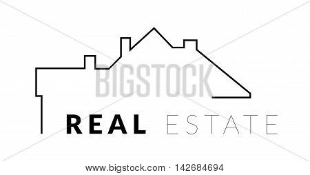 Real estate vector logo with silhouette house and the roof
