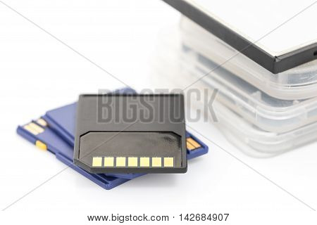 Sd Memory Card And Case On White Background
