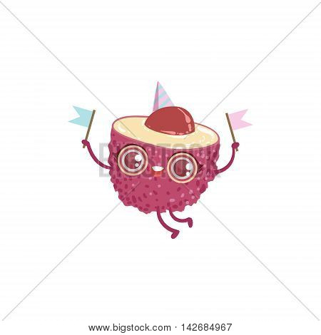Litchi Girly Cartoon Character.Childish Design Sticker With Humanized Bright Color Fruit Character.