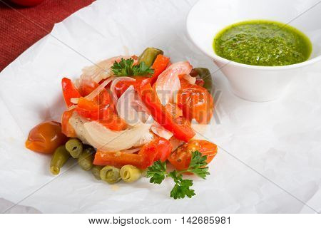 Mixed vegetables saute with green pesto sauce