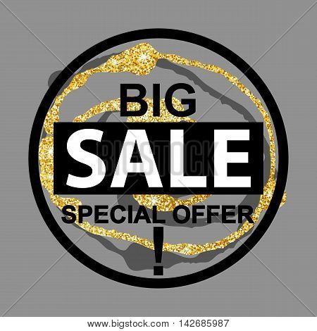Big Sale banner with glitter blot on gray background. Sale background. Big sale special offer. Sale tag. Sale poster. Sale vector. Vector illustration.
