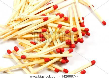 matches with red heads on white background