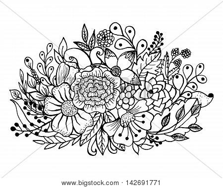Coloring page with flowers and leaves. Vector pattern black and white illustration can be used for coloring book pages for kids and adults. Hand drawn design for relax and meditation