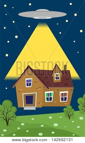 illustration in style of flat design on the theme of alien abductions of home.