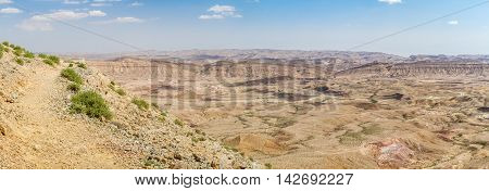 Landscape Makhtesh Gadol or Large Crater nature reserve in Negev desert view from Mt. Avnon Israel